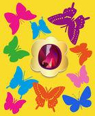 Flat butterflies gemstone set — Stock Vector