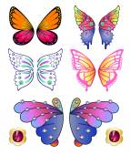 Butterflies colored gem wings set — Stock Vector