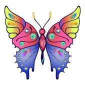 Strass colored outlined butterfly — Vetorial Stock