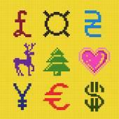 Cross embroidery pixel art currency christmas scheme — Stock Vector