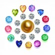 Round composition colored gems set — Stock Vector #58932203