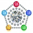 Постер, плакат: Pentagon composition colored gems set