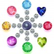 Постер, плакат: Round composition colored gems set