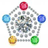 Pentagon composition colored gems set — Stock Vector