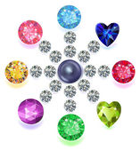 Round composition colored gems set — Stock Vector