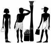 Ancient Egyptian-Greek market meeting silhouette — ストックベクタ