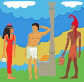 Ancient Egyptian-Greek market negotiations — Stock vektor
