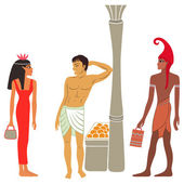 Ancient Egyptian-Greek market negotiations — ストックベクタ