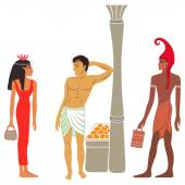 Ancient Egyptian-Greek market negotiations — Stock Vector