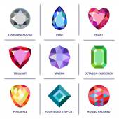 Low poly popular colored gems cuts infographics — Stock Vector
