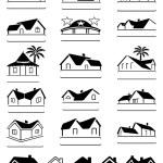 Buildings black signs logo set — Stock Vector #68833553