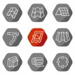 Sale buildings materials (roof, facade) site icons set — Stock Vector #68834255