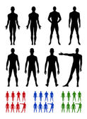 Full length front, back silhouette of man set — Stock Vector