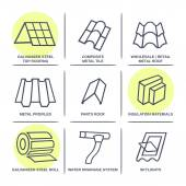 Sale buildings materials (roof, facade) site icons infographics  — Stock Vector