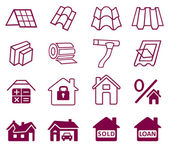 Sale buildings materials (roof, facade) site icons set — Stock Vector