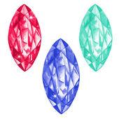 Marquis cut watercolour gems set — Stock Vector