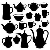 Simple coffee tea crockery silhouette set — Stock Vector