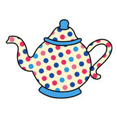 Polka dot tea pot  — Stock Vector