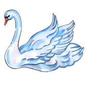Swan with lift wings — Stock Vector