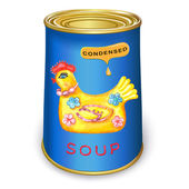 Can of condensed Magic chicken soup — Stock Vector
