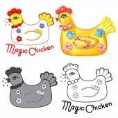 Magic chicken set — Stock Vector