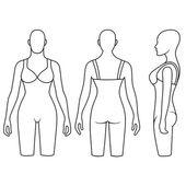 Kvinnan skyltdocka bantning underkläder torso — Stockvektor