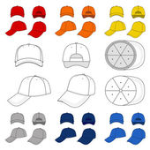 Many-coloured baseball, tennis cap outlined template — Stock Vector