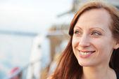 Woman on ship — Stock Photo