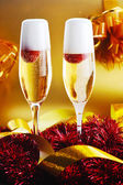 Two glass with sparkling champagne  — Stockfoto