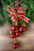 Fir tree with christmas toys — Stock Photo