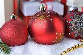 圣诞玩具和礼品盒 — 图库照片