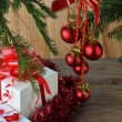 Fir tree with christmas toys — Stock Photo #61635299