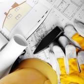 Design and project drawings — Stock Photo