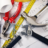Project drawings  and tools — Stock Photo