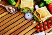 Tasty sandwiches with vegetables — Stock Photo