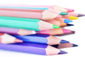 Wooden coloured pencils — Stock Photo