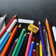 School supplies  on notebook — Stock Photo #63663529