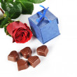 Rose and  gifts in box — Stock Photo #64300739