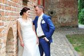 Happy groom and bride — Stock Photo