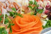 Fish and meat snack with vegetables — Stock Photo