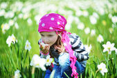 Girl  in field of  daffodil flowers — Stock Photo