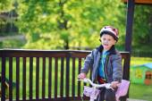 Little boy riding bicycle — Stock Photo