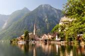 Village on lake shore — Stock Photo