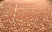 End of summer sport season. Epmty tennis court — Zdjęcie stockowe
