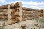 Costruzione di case in legno dai registri — Foto Stock