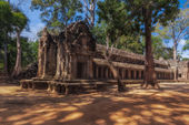 SIEM REAP, CAMBODIA. December 16, 2011. Ancient Khmer architecture. Ta Prohm temple with giant banyan tree at Angkor Wat complex — Stock Photo