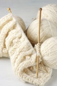 Knitting and yarn — Stock Photo