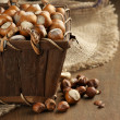 Hazelnuts in basket — Stock Photo #53287445