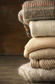 Stack of knitted sweaters — Stock fotografie