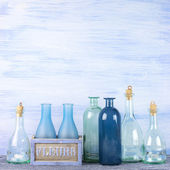 Decorative bottles set — 图库照片